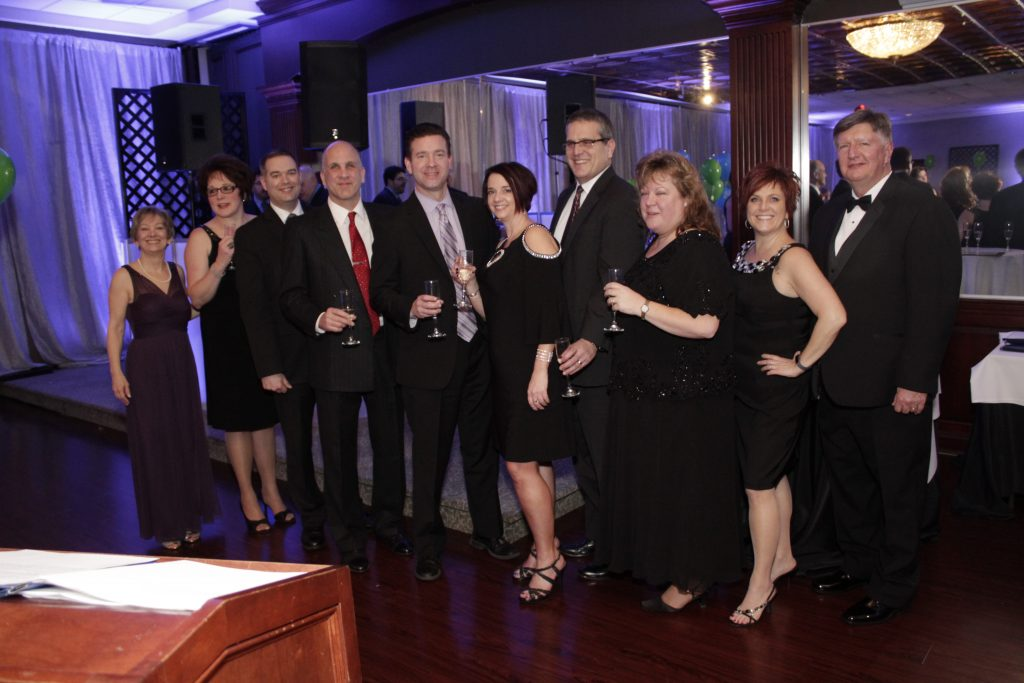 New Milford Chamber Board of Directors attending the 2018 Crystal Winter Gala - President Katherine Webster-O'Keefe, Emeritus Director Cheryl Bakewell, Darren Piper, Michael Giacona, Treasurer Scott Mulhare, 1st Vice President Jenn Birdseye, 2nd Vice President Kirk Englund, Lori Gordon, Tammy Reardon, Gary Passineau